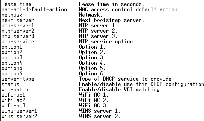 Fortigate DHCP server VIA CLI and adding DHCP Options