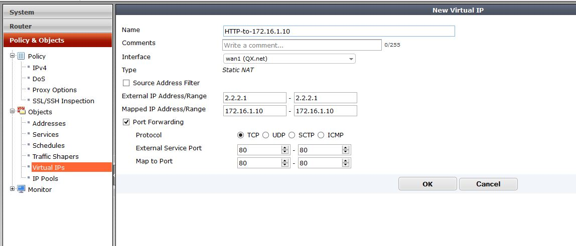 Creating a Fortigate Virtual IP – External to internal Port ...